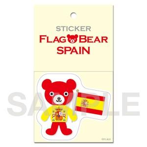 FLAG BEAR STICKER <SPAIN> スペイン (大(L))