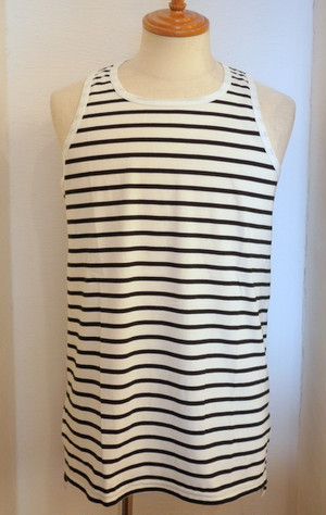 Long Length Tank Top(Flat) White×Black