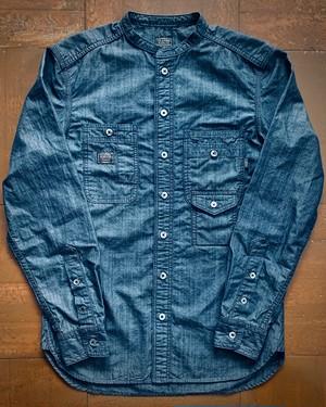 〈PSH-02〉5ポケット ダンガリー バンドカラー シャツ