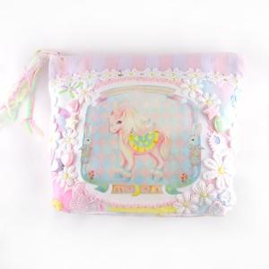 ユニコーン 淡いパステルカラーポーチ unicorn