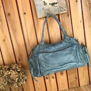 ≫ヴィンテージ加工オールレザーボストンバッグ*ビンテージ総本革ショルダートートバック*大容量カバン大型鞄旅行*メンズ紳士*青ブルー系
