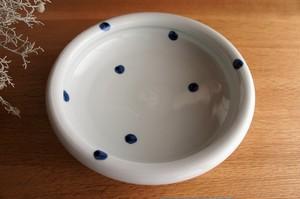 砥部焼/玉縁8寸鉢/水玉