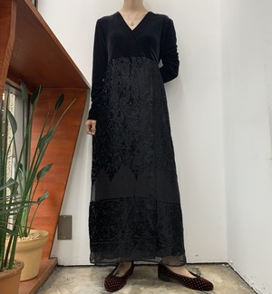 1990s MADE IN USA CAROLE LITTLE velours see-through maxi one-piece 【4】