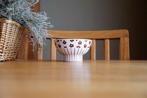 砥部焼/くらわんか茶碗(小)/赤小紋×赤十草/すこし屋