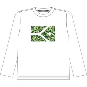 《限定販売 完全受注生産》KYUS 迷彩フラッグ ドライメッシュロングスリーブTシャツ   ホワイト×迷彩柄