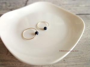 天然石の指輪■ダークブルー サファイア■14KGF グリッター 6号・8号