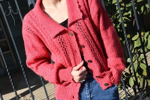 80's Pink knit cardigan