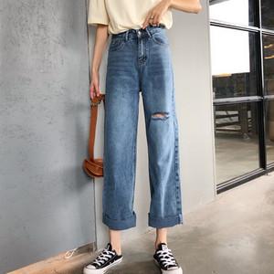 【ボトムス】新作ハイウエストゆったり着瘦せストレート破れたジーンズ