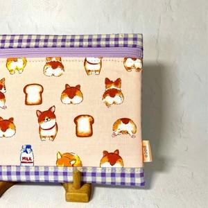 ふわふわポーチ「コーギーちゃん」ピンク<チェック>× 薄紫