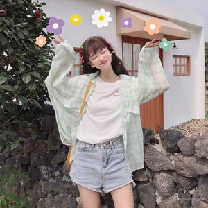 【トップス】春夏スウィートチェック柄韓国風カジュアル清新シングルブレスト長袖シャツ
