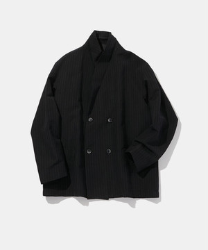 POLYPLOID DOUBLE BREASTED SUIT JACKET C STRIPE BLACK