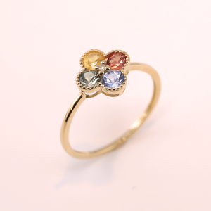 Multi Color Sapphire Ring -Clover