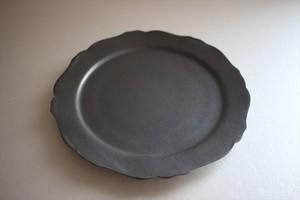 望月万里|軟質陶器 黒 6寸デコリム皿