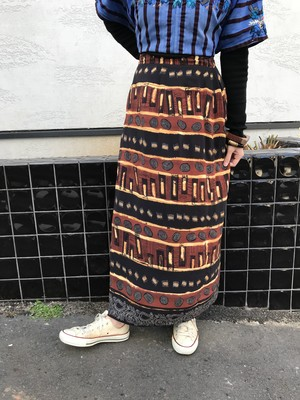 Vintage brown rayon skirt (ヴィンテージ レーヨン スカート)