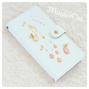 手帳型スマホケース『音のiro -cat with pinkdrops-』ほぼ全機種オーダー可能 高品質素材