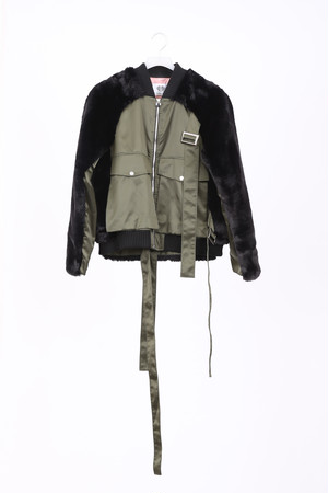 ECO FUR BACK & SLEEVE PANEL BOMBER JACKET