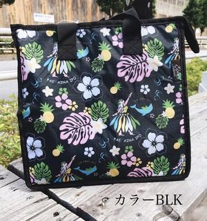 BD20-S153 ハワイアン保冷バッグ バッグ ハワイアン 保冷 可愛い おしゃれ ブラック 黒