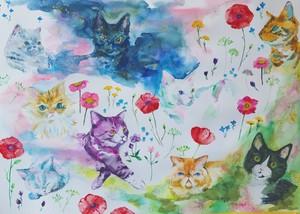 原画【つながりつながる】つながりつながる 猫と花