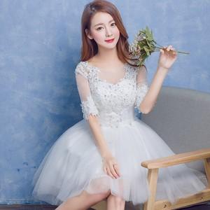 パーティドレス Aライン 袖あり プリンセス ブライズメイドドレス 二次会 卒業式 誕生日 ミニ丈 結婚式 刺しゅう お呼ばれ フォーマル ワンピース ワンピドレス