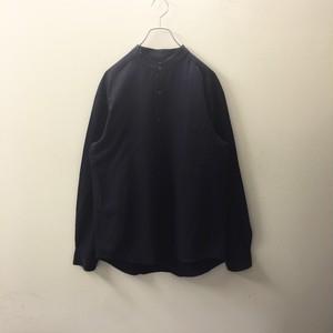 MARKS&SPENCER バンドカラーシャツ ビスコース ストライプ ネイビー size M オーバーサイズ メンズ 古着