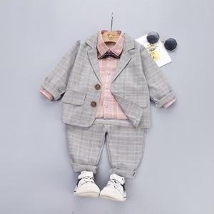 【セットアップ】ファッションコットンチェック柄洋服キッズ子供服 男の子 セットアップ3点セット24838129