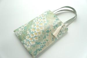 【桜模様 グリーン シルク帯 ミニサブバック】日常使い、結婚式、パーティーに。