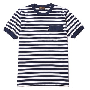 DIA STITCH BORDER TEE (NAVY/OFF-WHITE) / RUDE GALLERY BLACK REBEL