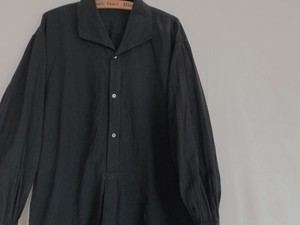 EUROPE ~1950's antique black cotton shirts one piece