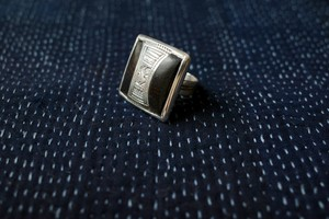 No.11  Ebony Wood Square Ring