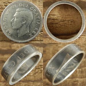 【受注生産】CANADA ジョージ6世25セント2nd シルバーコインリングA 肖像面【カナダ ヴィンテージ 25セント銀貨】