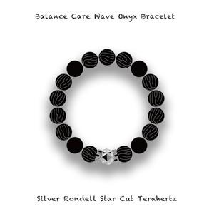 Balance Care 400 Wave Onyx Bracelet / Silver Rondell Star Cut Stone