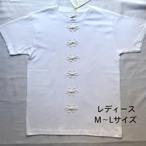 【ハンドメイドTシャツ】macokuma「チャイナボタン」Tシャツ 白 レディースM~Lサイズ【作家作品】