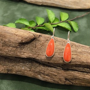 【In the Pines Jewelry×CORALIA】ピアス フックタイプ 雫  桃サンゴ SV