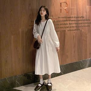 【ワンピース】ファッション学園風無地文芸スタイルあつさりやわらかな素材ワンピース