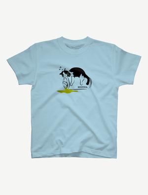 【ほろ酔いにゃんこ】Tシャツ(ライトブルー)