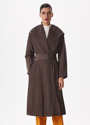 PLEATED TRENCH COAT WITH MAXI-LAPELS