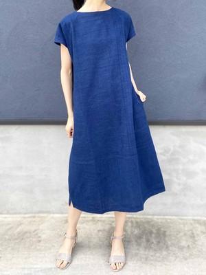 藍染フレンチスリーブAラインワンピース