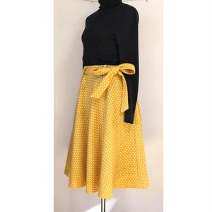 リボンベルト付きフレアスカート / 黄色ドット ※一点のみ