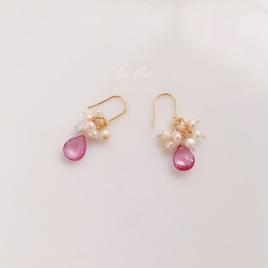 pure elegance pink  ピンクトパーズと淡水パールのピアス