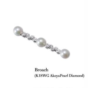 jewelG <Chic> ダイヤモンド&アコヤパール ブローチ K18WG