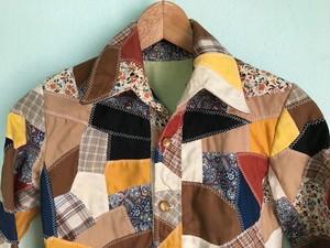 OLD レトロ ビンテージ パッチワーク キルト シャツジャケット / 60s 70s ヒッピー ボヘミアン ハンドメイド 一点物