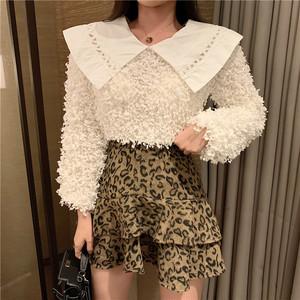 【単品注文】ファッションchic切り替えラウンドカラーニットセーター+ハイウエストプリーツスカート