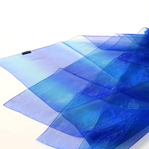 天女の羽衣 極薄オーガンジーのスカーフ レインボーダーブルー 大判