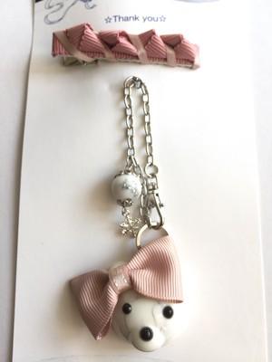 オルゴナイト☆シロクマさんのバッグチャーム女の子バージョン♪リボンピン付vol5