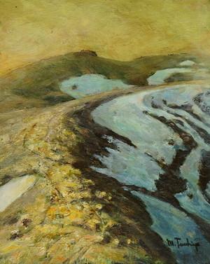 「夕暮れの残雪」油彩画 F3号