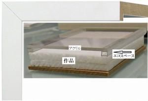 キャンバスサイズ200mm×200mm×15mmが入るフレームホワイト白額縁寸法204mm×204mm窓枠寸法190mm×190mmアクリルと作品間3mm