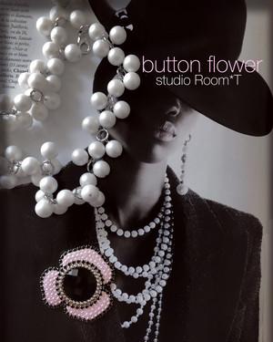 【brooch】button flower ピンク
