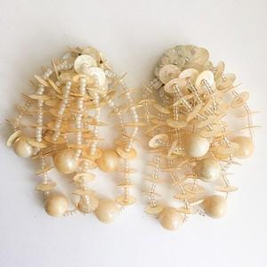 cream sequin earring[e-745]