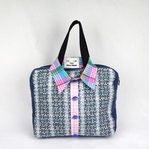 フランス製、ヴィンテージ素材を使ったオシャレ、ハンドメイドバッグ  Lo La Le Paris    Sweet Shirt bag  Perry No,145