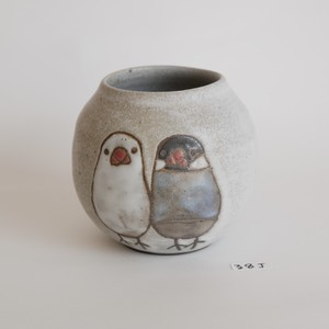 陳野原久恵 丸い花器 文鳥